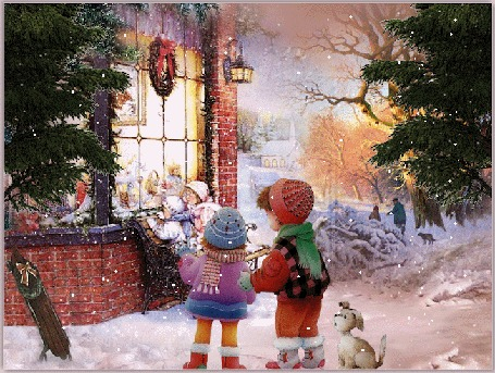 Анимация Дети и щенок стоят под падающим снегом