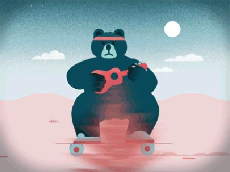 Анимация Медведь с гитарой на скейтборде