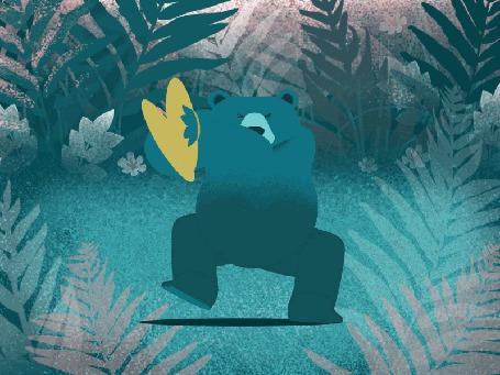 Анимация Медведь, играющий на ударных, by Rafael Varona