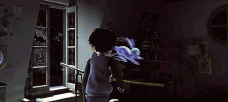 Анимация В комнату к Jack Frost / Ледяному Джеку из мультфильма Rise Of The Guardians / Хранители снов влетает Пасхальный кролик