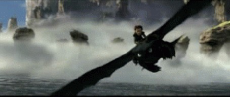 Анимация Иккинг в полете на драконе Беззубике учит его стрельбе по команде, мультфильм How to Train Your Dragon / Как приручить дракона