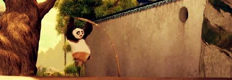 Анимация Панда пытается перепрыгнуть высокий забор, мультфильм Kung-Fu Panda / Кунг - фу панда