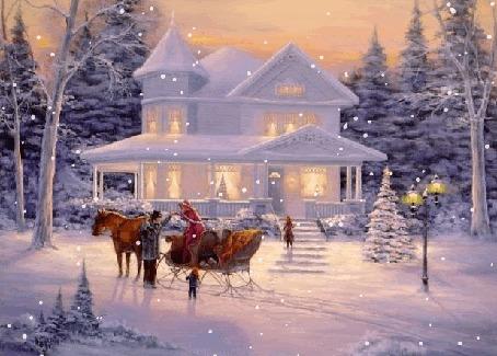 Анимация Сани в упряжке с лошадью и люди стоят перед домом под падающим снегом