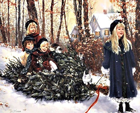 Анимация Девочка и дети на елке под падающим снегом