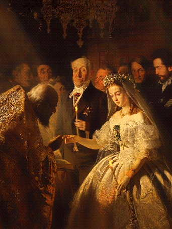 Анимация Батюшка венчает молодую девушку и пожилого мужчину в церкви, неравный брак, художник В. Пукирев