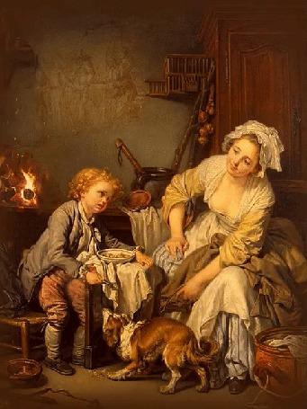 Анимация Мать наставляет своего сына, который играет со своей собачкой, Балованное дитя, художник Жан-Батист Грез