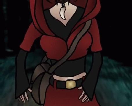 Анимация Девочка в образе Красной шапочки идет по лесу