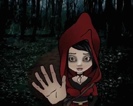 Анимация Девочка в образе Красной шапочке срывает красное яблоко