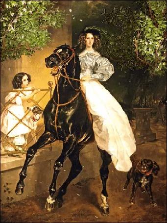 Анимация Дама на черной лошади и охотничьей собакой рядом, на них, с веранды смотрит маленькая девочка, исходник картина Всадница, художник Карл Брюллов