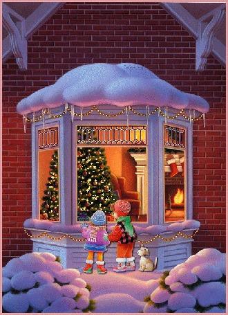 Анимация Дети смотрят в окно небольшого домика, в котором виднеется елка с зажженными огнями, рядом сидит собака