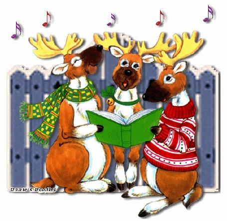 Анимация Три оленя в свитере и шарфе поют новогоднюю песню у забора, by Daniels Doodles