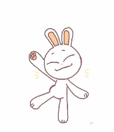 Анимация Смешной кролик на белом фоне