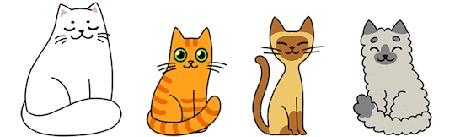 Анимация Котики разной породы и окраса на белом фоне