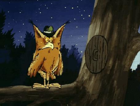 Анимация Маленькая птичка дарит сычу желтый смайлик, ремикс на мультфильм Большой Ух
