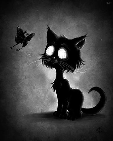 Анимация Моргающий котенок смотрит на бабочку