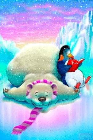 Анимация Пингвин с книгой сидит рядом с белым медведем под падающим снегом