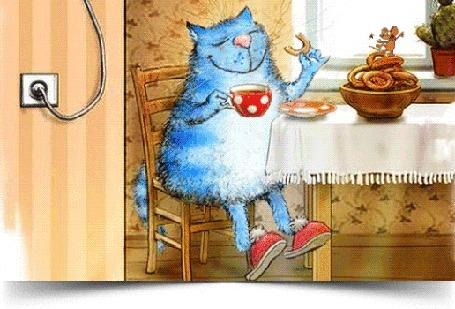 Анимация Голубой кот сидит за столом и пьет чай, а на выпечке танцует мышка