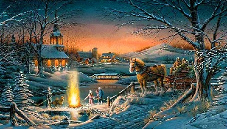 Анимация Дети у костра в зимнюю ночь