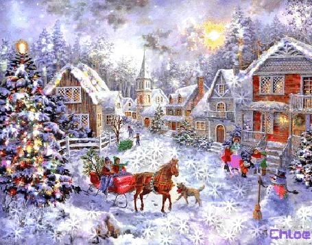 Анимация Праздничный зимний пейзаж, нарядные елки, люди, снеговик, дома, яркое солнце под волшебным небом