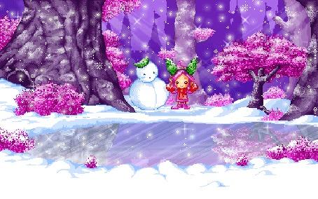 Анимация На берегу заснеженного водоема стоят снеговик и девочка на фоне зимнего леса и падающего снега