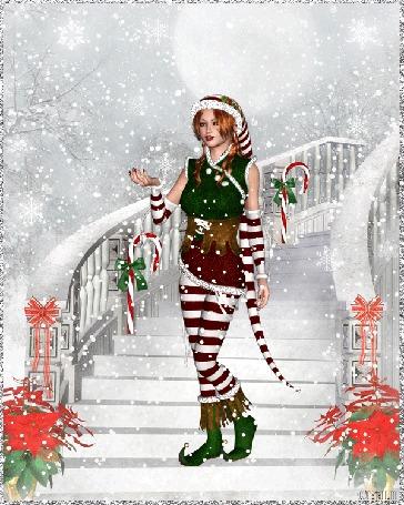 Анимация Шатенка в новогоднем костюме стоит на лестнице под падающим снегом