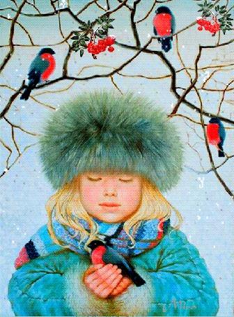 Анимация Девочка со снегирем в руке стоит под падающим снегом