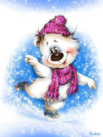 Анимация Смешной белый медведь в шарфе и шапочке