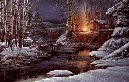 Анимация Зимний пейзаж с рекой под падающим снегом