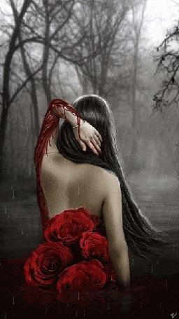 Анимация Девушка сидит к нам спиной с красными розами под дождем