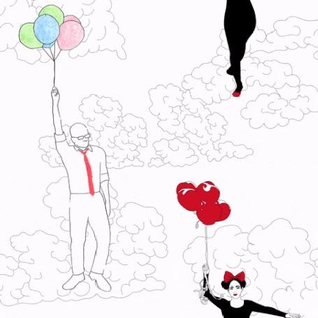 Анимация Мужчина и девушка летят с воздушными шарами