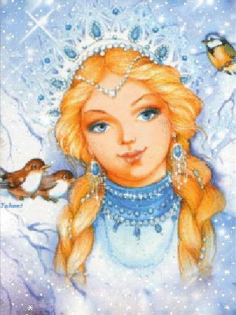 Анимация Снегурочка с птицами под падающим снегом