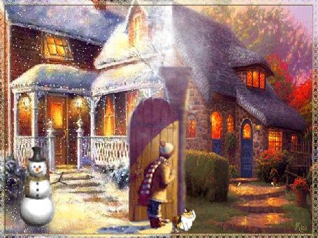 Анимация Девочка стоит рядом с кошкой у домика с зимним и летним пейзажами
