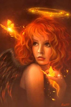 Анимация Рыжеволосая девушка - ангел с ореолом над головой и бабочками рядом