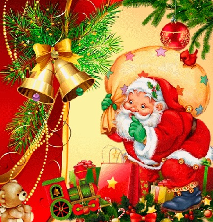 Анимация Дед мороз с мешком на фоне новогодних колокольчиков, игрушек, еловой ветки и птички