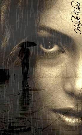 Анимация Портрет девушки на фоне уходящего парня с зонтом под дождем