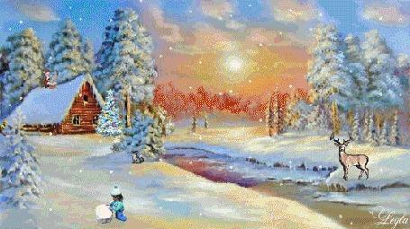 Анимация Дети на природе, катаются на лыжах и лепят снежную бабу