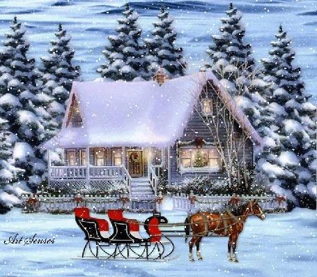 Анимация Сани с лошадьми стоят у дома под падающим снегом