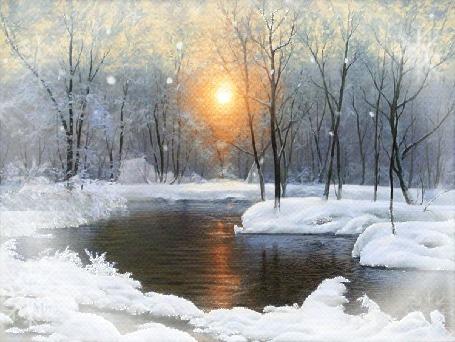Анимация Речка зимой под падающим снегом