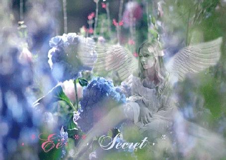 Анимация Девушка-ангел расположилась на цветочной поляне, автор Ее Secret