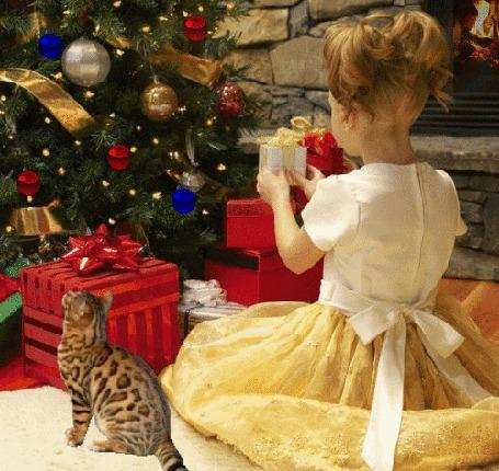 Анимация Девочка с подарком в руках сидит рядом с кошкой перед новогодней елкой