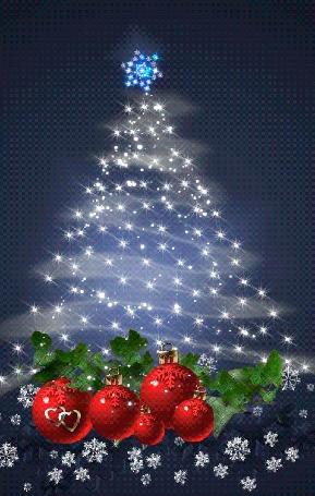Анимация Праздничная новогодняя елка с гирляндами, игрушками, снежинками