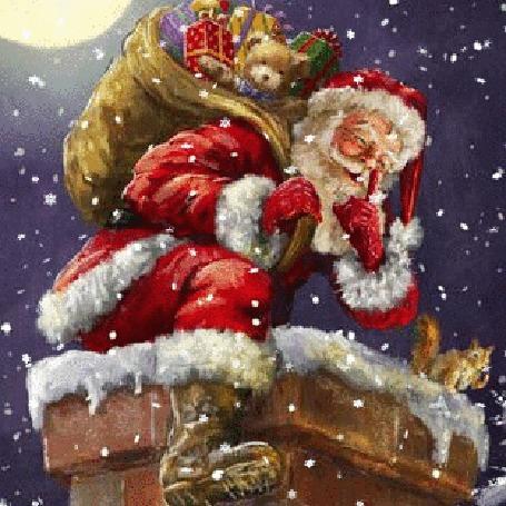 Анимация Дед Мороз с мешком подарков на трубе дома