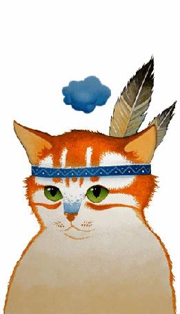 Анимация Рыжий кот с облачком над ним