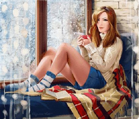 Анимация Девушка с чашкой в руке сидит на кровати у окна, за которым зима