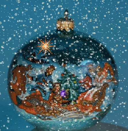 Анимация Новогодний шар под падающим снегом