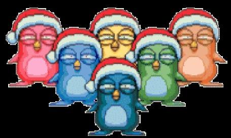 Анимация Пляшущие разноцветные пингвины в шапочках Санта Клауса