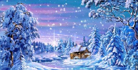 Анимация Зимний пейзаж под снегопадом