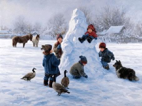 Анимация Дети играют у снежной бабы