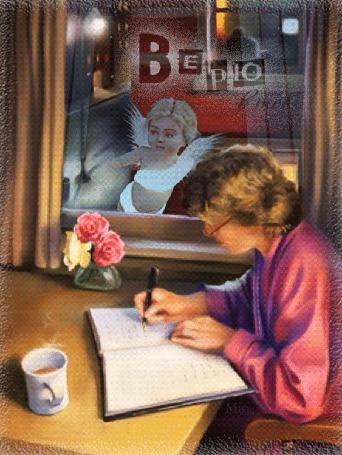 Анимация К девушке, пишущей в тетрадь, прилетел белый ангел и заглядывает к ней в окно, (Верю в тебя)