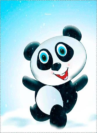 Анимация Танцующая панда под падающим снегом (воздушного настроения)
